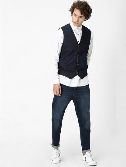 Indigo Solid Slim Fit Waistcoat
