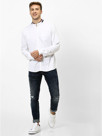 100% Cotton Knitted White Shirt