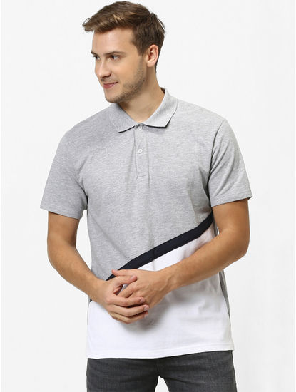 Grey Colourblock Polo T-Shirt