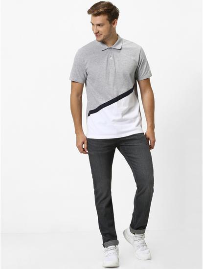 Grey Colourblock Polo T-Shirt