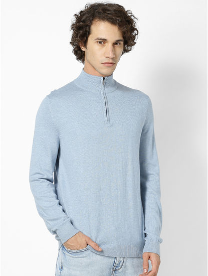 Blue Turtle Neck Jumper