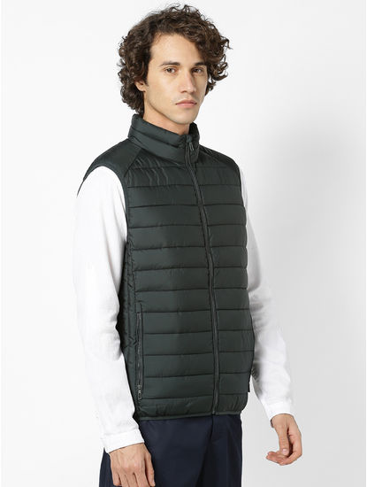 Dark Green Regular Fit Sleeveless Bomber Jacket