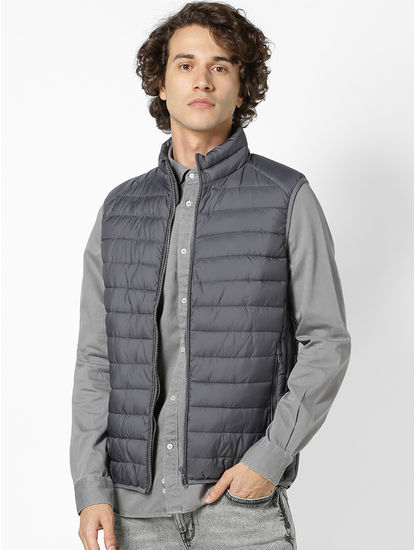 Grey Regular Fit Sleeveless Bomber Jacket