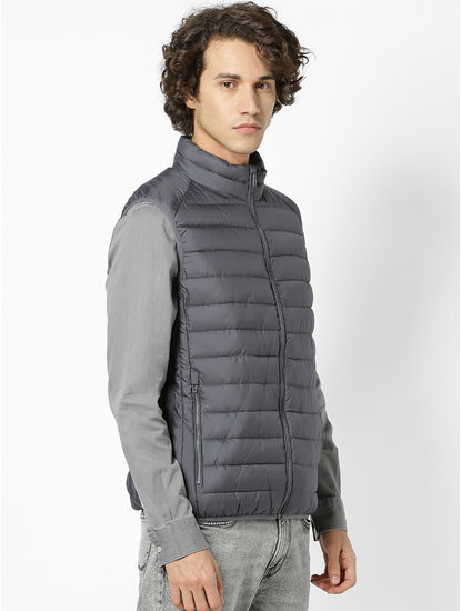 Grey Regular Fit Sleeveless Bomber Jacket