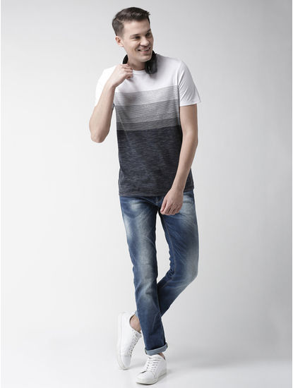 White Striped Straight Fit T-Shirt
