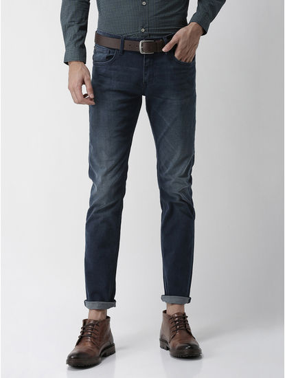 Soft Touch Navy Solid Slim Fit Jeans
