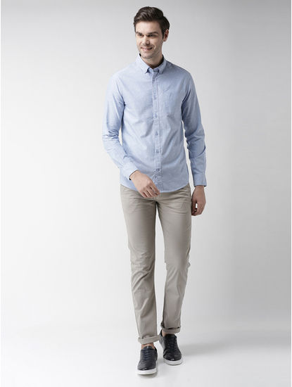 Light Blue Printed Slim Fit Casual Shirt