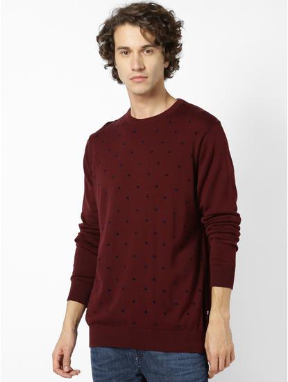 Round Neck Burgundy Sweater