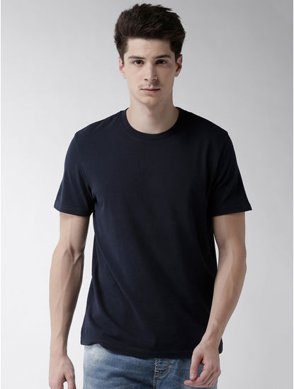 Navy Solid Straight Fit T-Shirt