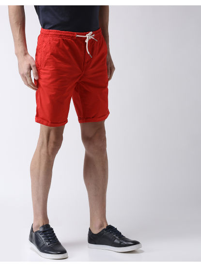 Red Solid Shorts