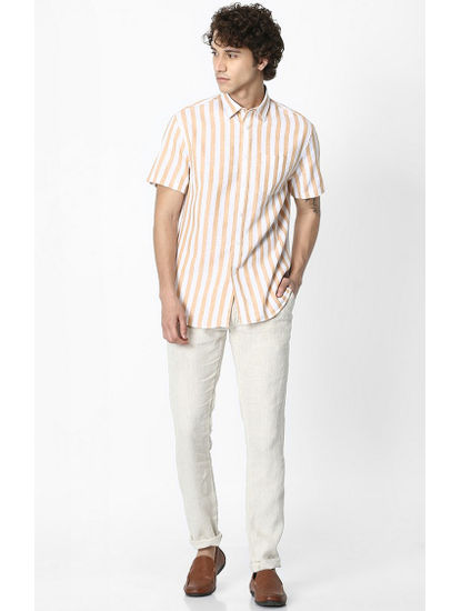 Yellow Striped Regular Fit Casual Shirt