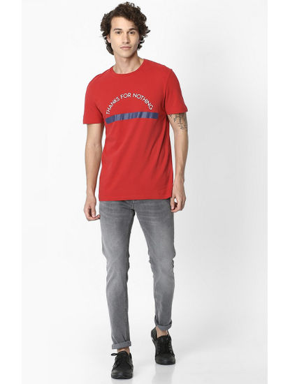 Red Printed Soft Touch Regular Fit T-Shirt