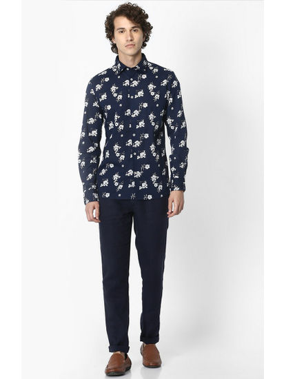 Navy Floral Regular Fit Casual Shirt