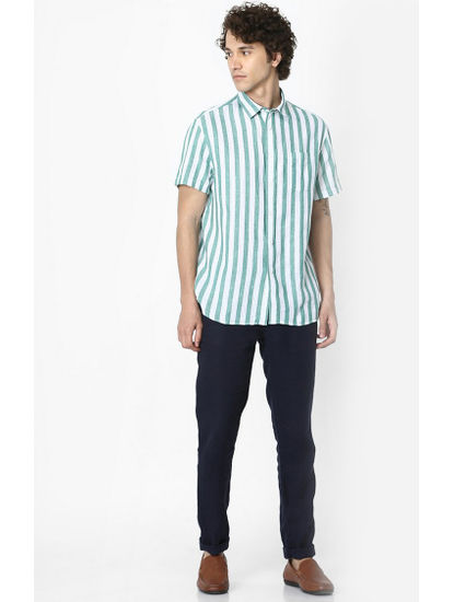 Green Striped Linen Regular Fit Casual Shirt