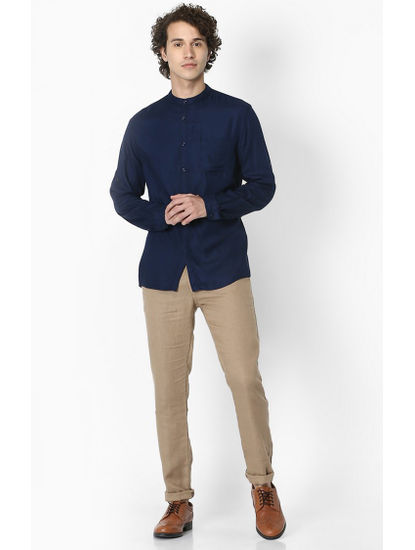 Navy Solid Soft Touch Regular Fit Casual Shirt