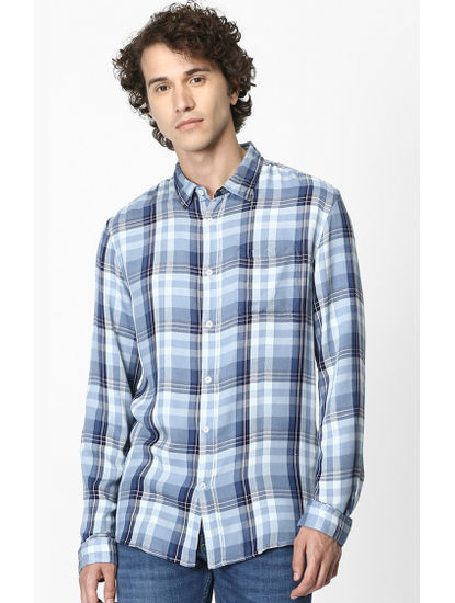 Blue Checked Soft Touch Regular Fit Casual Shirt