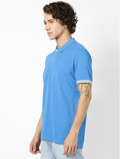 100% Cotton Cobalt Blue Polo T-Shirt