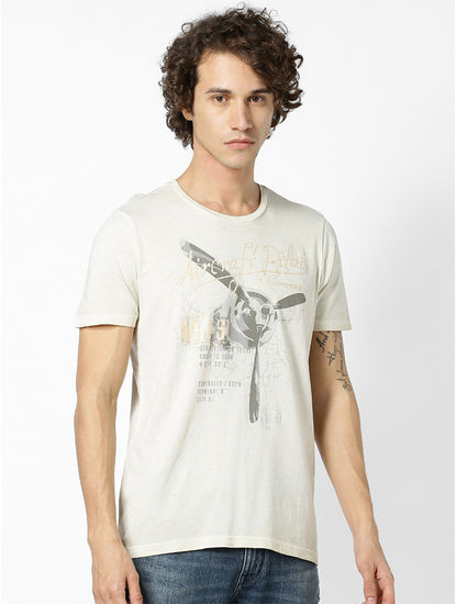 Light Beige printed T-shirt