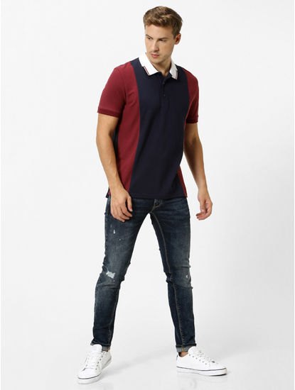 Maroon and Navy Colourblock Polo T-Shirt