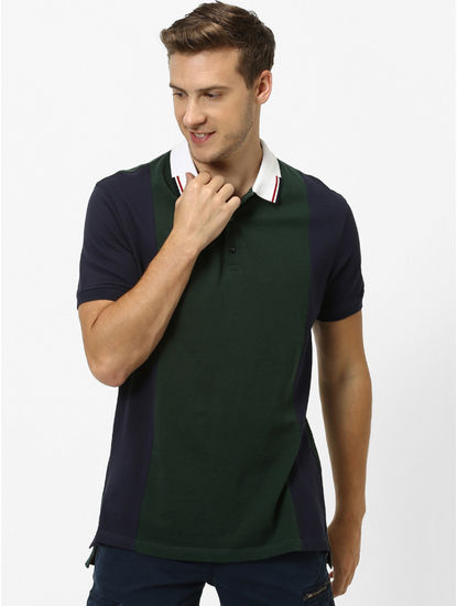 Dark Green and Navy Colourblock Polo T-Shirt