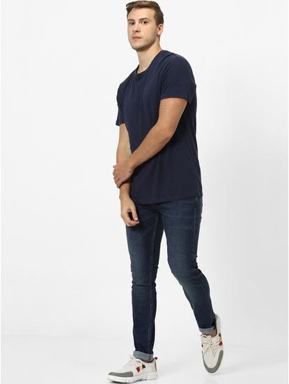 100% Linen Navy T-Shirt