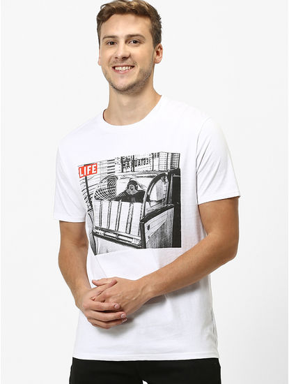 LIFE-Optical White Printed T-Shirt