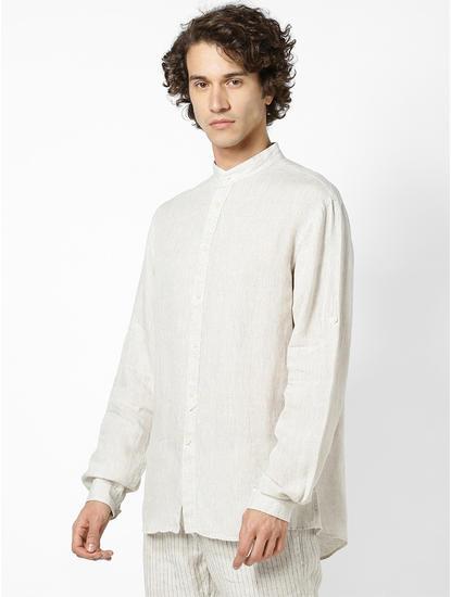 100% Linen Mao Collar Natural Shirt