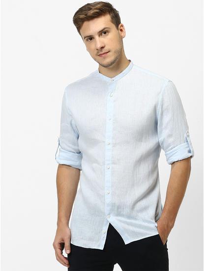 Regular-fit linen shirt with mandarin collar
