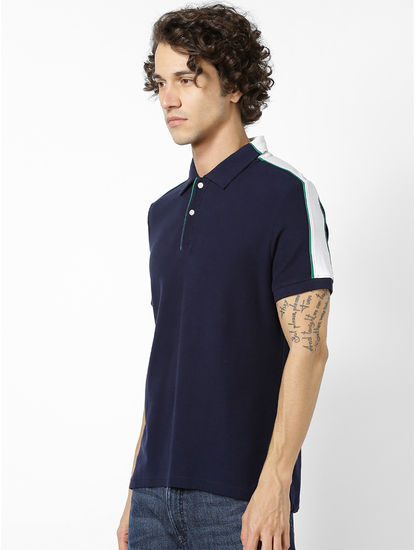 Men Navy Blue & White Colourblocked Polo Collar T-shirt
