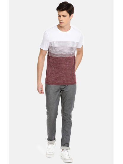 White and Wine Striped T-Shirt