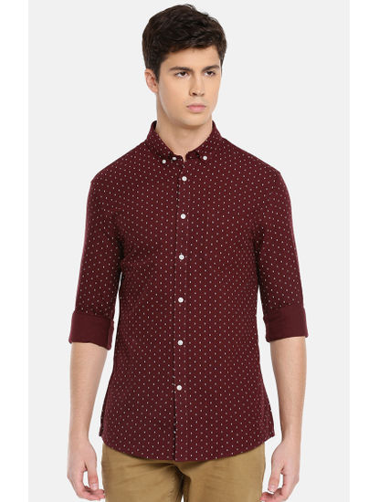 Wine Printed Casual Shirt
