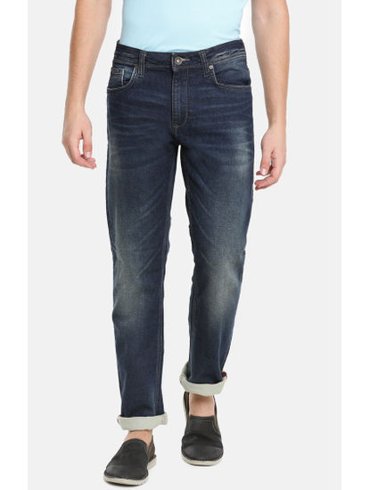 Dark Blue Solid Straight Fit Jeans