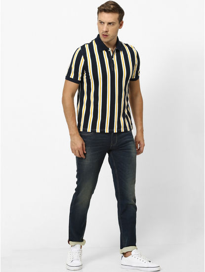 Navy Striped Polo T-Shirt