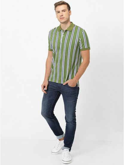 Green Striped Polo T-Shirt