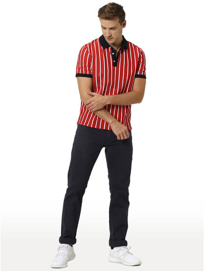 Red Striped Polo T-Shirt