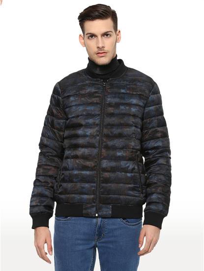Black Camouflage Straight Fit Bomber Jacket