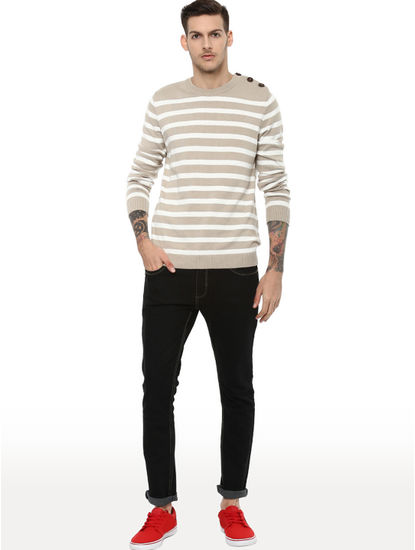 Beige Striped Straight Fit Sweater
