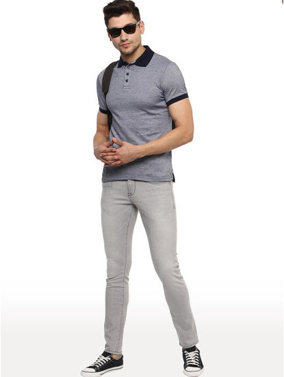 Grey Solid Straight Slim Fit Jeans