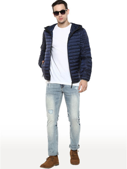 Marine Solid Straight Fit Bomber Jacket