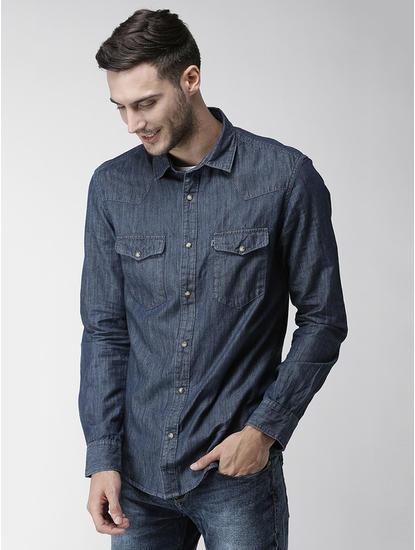 Dark Blue Solid Regular Fit Casual Shirt