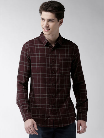 Maroon Checked Straight Fit Casual Shirt