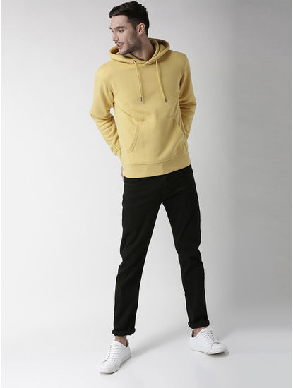 Yellow Solid Straight Fit Hoodie