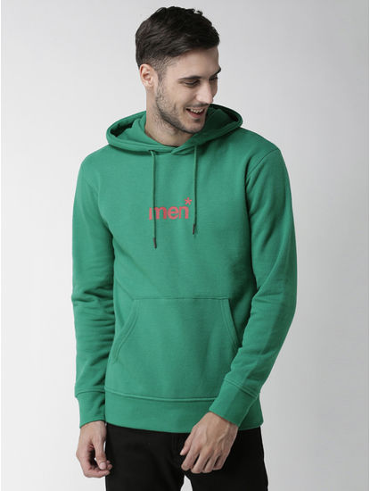 Green Printed Straight Fit Hoodie