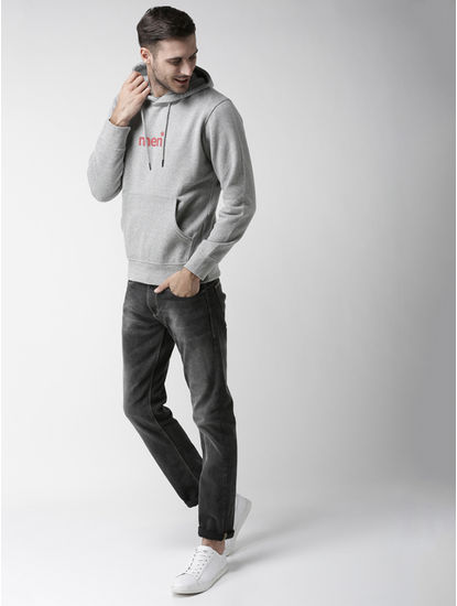 Grey Printed Straight Fit Hoodie