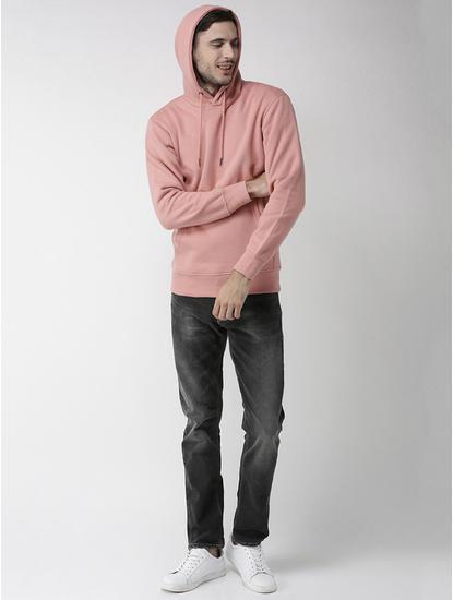 Pink Solid Straight Fit Hoodie