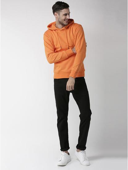 Orange Solid Straight Fit Hoodie