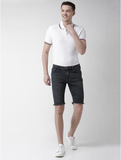 Black Solid Slim Fit Shorts