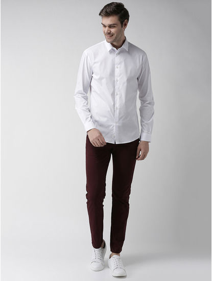 Maroon Straight Fit Chinos