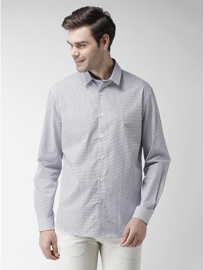 Blue Printed Regular Fit Casual Shirt