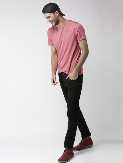 Rose Melange Straight Fit T-Shirt